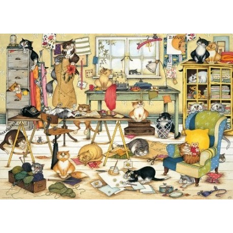 Puzzle Crazy Cats in the Craft Room - 1000 piezas Ravensburger 192458