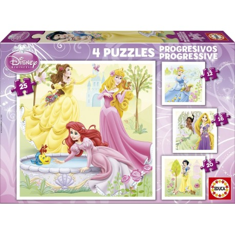 Puzzle Princesas Disney - 12+16+20+25 progresivo Educa 15289