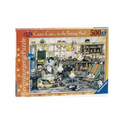 Puzzle Crazy Cats in the Potting Shed - 500 piezas Ravensburger 141357