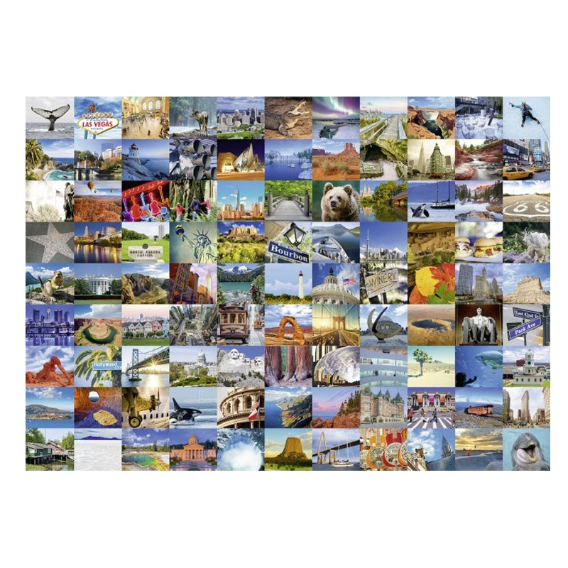 Puzzle Collage 99 Beautiful Places Usa Canada 1000 Piezas 19709