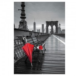 Puzzle Paraguas Rojo, Puente de Brooklyn Coloured Black And White - 1000 piezas Educa 17691