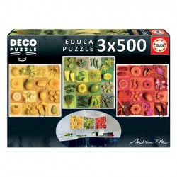 Puzzle Exotic Fruits and Flowers - 3x500 piezas Educa 18454