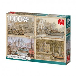 Puzzle Premium Collection - Anton Pieck, Canal Boats - 1000 piezas Jumbo 18855