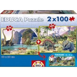 Puzzle Dino world - 2x100 piezas Educa 15620